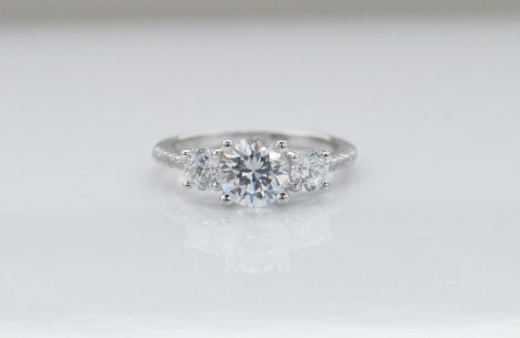 Three Stone Engagement Ring Unique 3 Wedding Silver Thin Band Promise Baguette