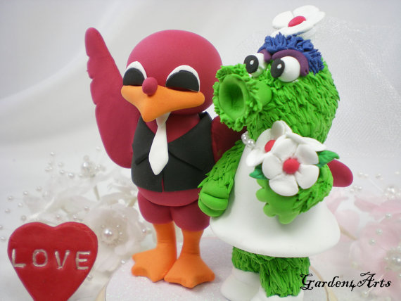 Wedding - NEW--Custom Wedding Cake Topper--VT Hokie & MLB Phillies Mascot with Circle Clear Base