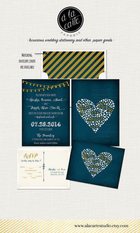 زفاف - String Light Navy Blue Chalkboard Wedding Invitation Card and RSVP Design fee