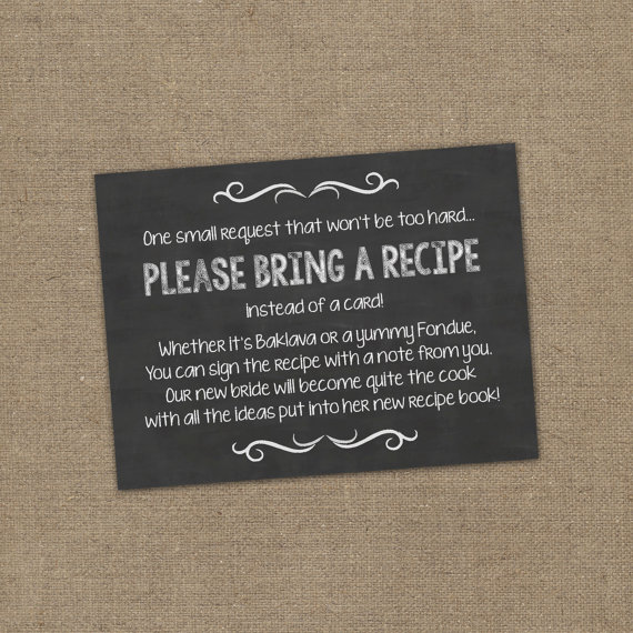 please bring a recipe instead of a card insert for bridal shower invitations cookbook gift idea w chalkboard or rustic theme diy burlap