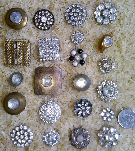 20 antique buttons rhinestone buttons wedding bouquet for Buttons with shanks for jewelry