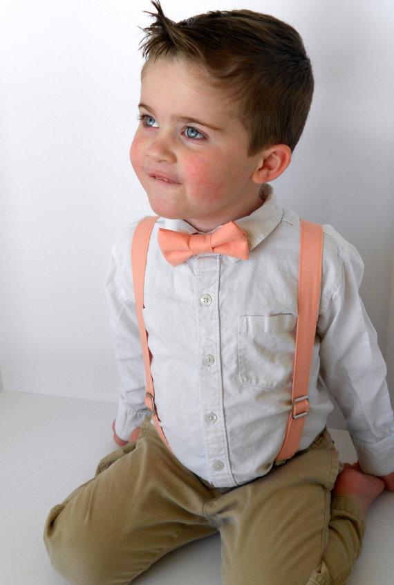 93ca610248c2 Peach Bowtie And Suspenders Set - Infant, Toddler, Boy #2310276 ...