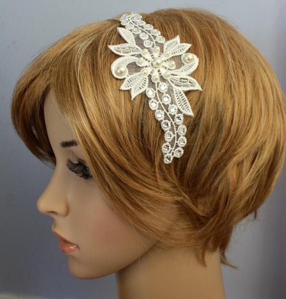 Wedding - Swarovski Crystal Rhinestone Pearl Lace Headband Bridal Fascinator Wedding Reception