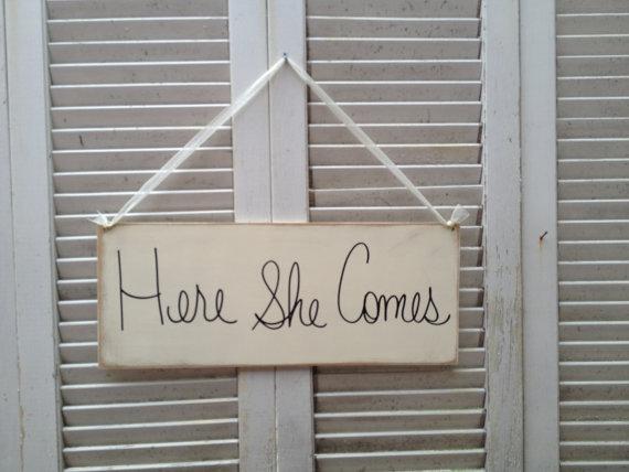 Wedding - Ivory and Black Here She Comes Wedding Sign, Wooden Wedding Signage, Ring Bearer Sign, Ivory Bride Sign