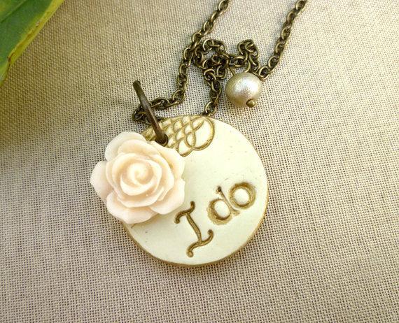 Wedding - I Do Necklace - Whimsical Bridal Jewelry