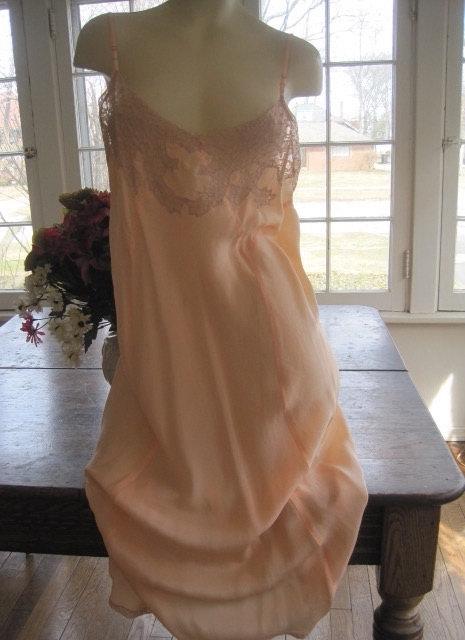 Wedding - Viintage 1930's Silk Bias Cut Nightgown...Wedding Lingerie...Bridal Wear...