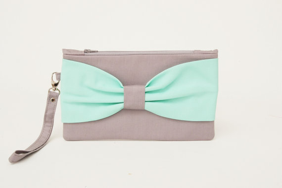 Wedding - PROMOTIONAL SALE - grey mint  ,Bow wristelt clutch,bridesmaid gift ,wedding gift ,make up bag,zipper pouch,cosmetic bag