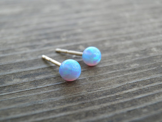 Wedding - Tiny Opal Stud Earrings, Tiny Ball 4mm 14k Gold Filled Studs, Blue Opal, Gold Opal Posts, Statement Gift, October Birthstone, Bridal Jewelry