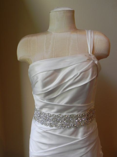 Wedding - Rhinestone Bridal Sash with Zig Zag Design - Wedding Dress Belt