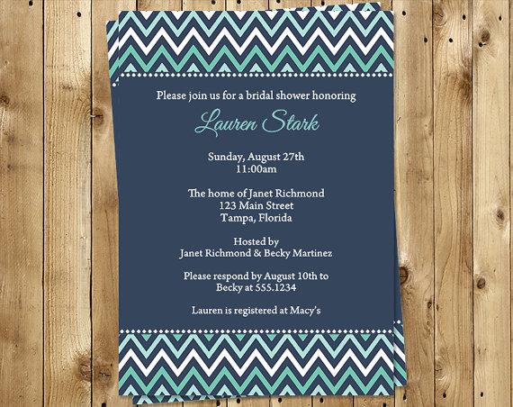 زفاف - Bridal Shower Invitations, Aqua, Navy, Blue, Stripes, Wedding, Set of 10 Printed Cards, FREE Shipping, CHVNA, Chevron Stripes Navy Aqua