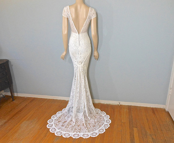 Crochet lace wedding dress romantic boho wedding dress for Bohemian mermaid wedding dress