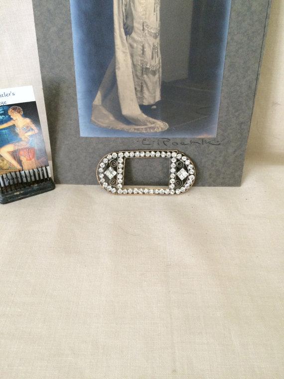 Свадьба - Vintage 1920's Flapper Art Deco Rhinestones Paste Belt Buckle...Wedding Buckle...Sash Buckle...