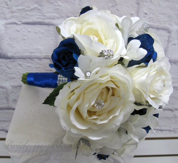 Bridesmaid bouquet white royal blue rose wedding bouquet silk bridal bridesmaid bouquet white royal blue rose wedding bouquet silk bridal flowers mightylinksfo