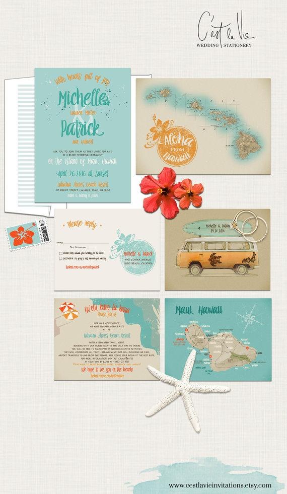 Mariage - Hawaii Wedding Invitation Maui Wedding - Retro Bus Surfboard Vintage Map Aloha- Turquoise Blue Orange colors - Deposit Payment