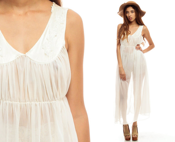 Sheer Nightgown Lingerie Slip Dress 80s Maxi Boho Nylon White Empire Waist Long Vintage Romantic Dreamy 1980s Bohemian Sleeveless Large