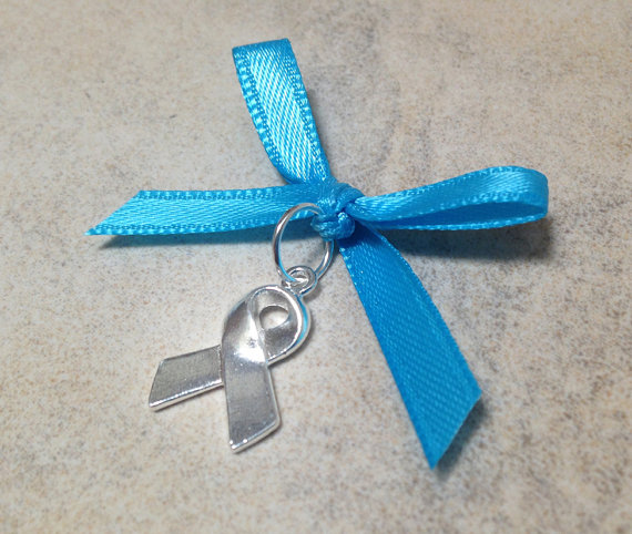 Свадьба - SALE Something Blue Bouquet Charm - Silver Support Ribbon with Blue Ribbon