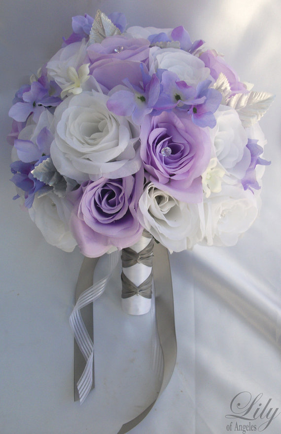 "Свадьба - RESERVED LISTING 13 Piece Package Wedding Bridal Bride Maid Of Honor Bridesmaid Bouquet Boutonniere Corsage Silk Flower ""Lily Of Angeles"""
