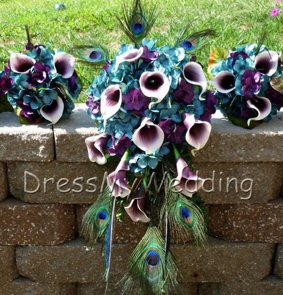 Hochzeit - Teal plum hydrangeas, picasso calla lily small bridesmaids bouquet
