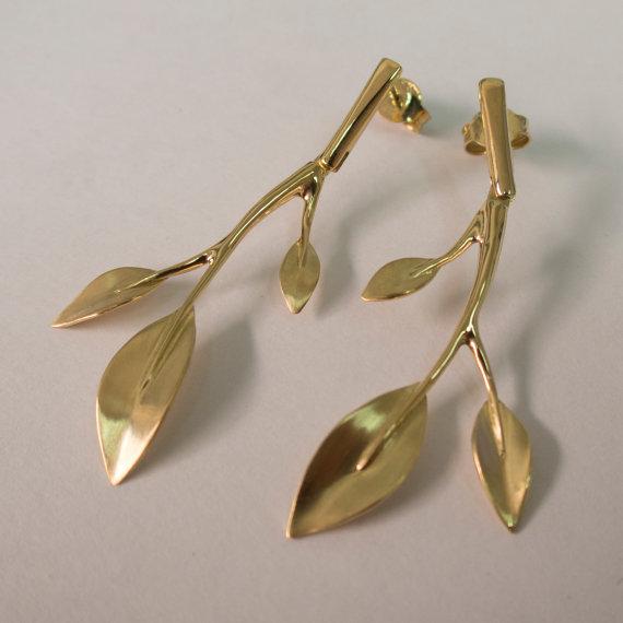 Свадьба - Leaves Earrings, 14K Gold Earrings, Stud Earrings, Art nouveau, antique stud earrings, vintage earrings, bridal earrings