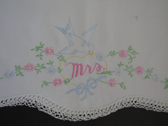 Vintage MRS Embroidered Pillowcase - Blue Bird - Bouquet of Flowers - Shabby Chic Vintage Bedding Anniversary Wedding Shower Gift Idea & Vintage MRS Embroidered Pillowcase - Blue Bird - Bouquet Of ... pillowsntoast.com