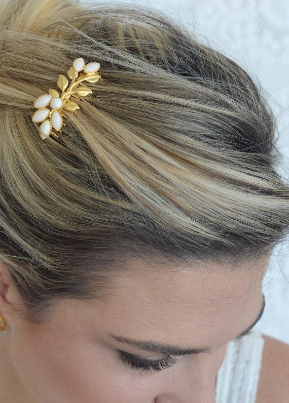 Mariage - Gold Hair Comb With Ivory Pearls - Bridal Hair Accessories - Wedding Hair Jewelry - Wedding Head Piece - Pearl Hair Comb - Leaves Hair Comb