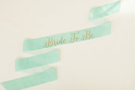 Свадьба - Bride To Be Custom Sash - Gold on Mint Velvet
