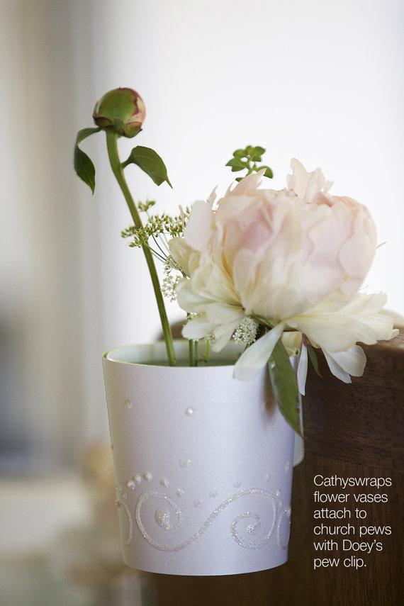 Wedding aisle flower vases flower bucket pail aisle decorations wedding aisle flower vases flower bucket pail aisle decorations doeys church pew clip secures hanging vase pew marker pew cone set of 20 junglespirit Image collections