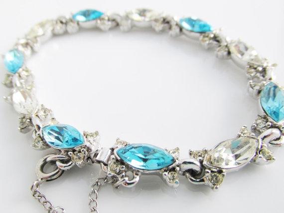 Mariage - Vintage Bogoff Aqua Rhinestone Bracelet, Aqua Crystal Bracelet, Silver Vintage Bracelet, Signed Bogoff Bracelet, Wedding Jewelry