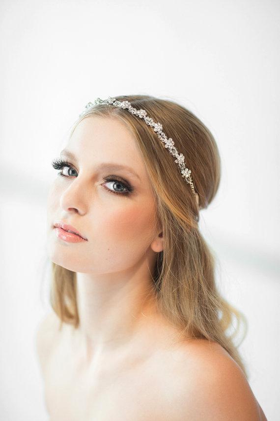 Crystal Ribbon Headband, Wedding Headband, Bridal Rhinestone ...