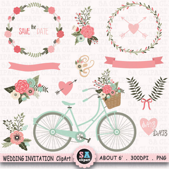 "Clipart Flowers Wedding Invitation Clipart Flowers: Wedding Invitation Clipart ""WEDDING CLIP ART"",Floral"