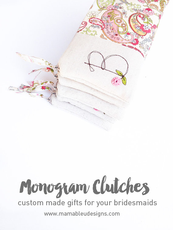 Hochzeit - Monogram Clutch, Gift for Bridesmaids, Set of 6 Personalized Bridesmaid Clutches, Inital Wedding Clutch in your Color Choice MADE to ORDER