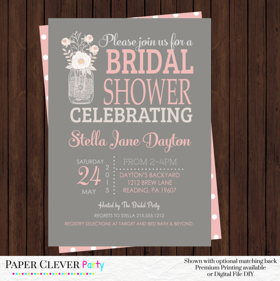 blushing bridal shower invitations cottage peony bouquet coral white garden party wedding theme digital file printed invites