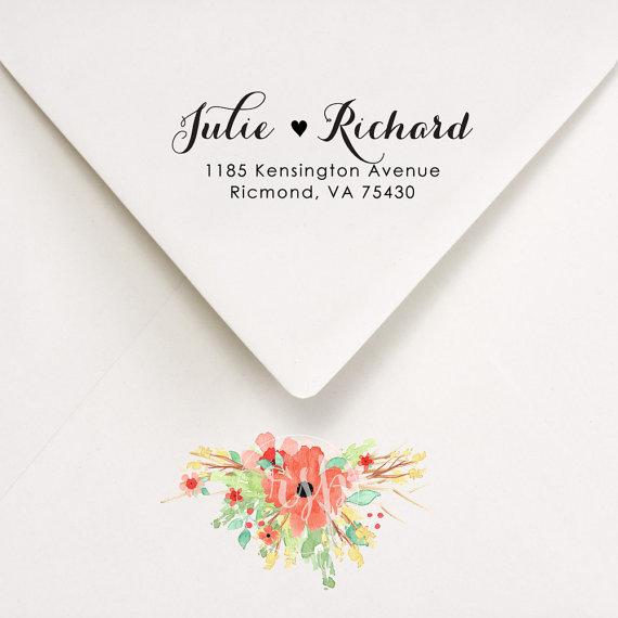 Return Address Stamp Wedding Invitations Calligraphy