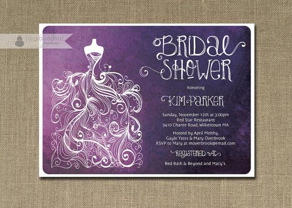 Cheap Shabby Chic Wedding Invitations: Plum Ombre Bridal Shower Invitation Purple & White Gown