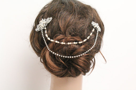 Mariage - Bridal Hair Chain wedding hair clip bridal hair comb wedding headpiece bridal hair accessory wedding jewelry bridal hair piece wedding comb