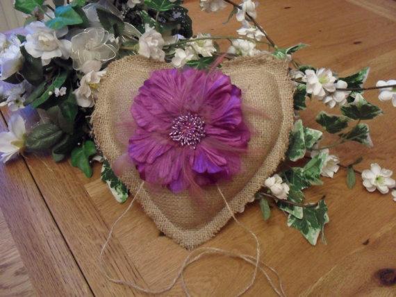 Mariage - Burlap Ring Bearer Cushion- Rustic ring Bearer Pillow - Pet Ring Bearer - Personalized Ring Bearer Pillow - Wedding Pillow