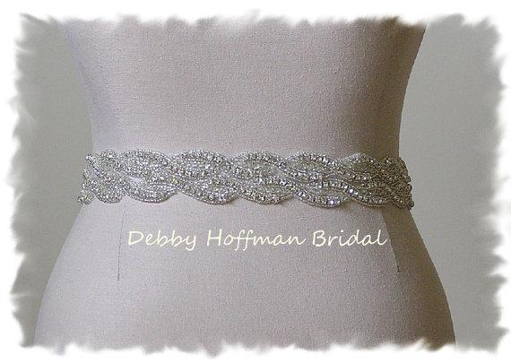 Mariage - Crystal Wedding Belt, 32 inch Rhinestone Crystal Wedding Dress Sash, Jeweled Bridal Sash, No. 1121S2-32, Wedding Accessories, Belts, Sashes