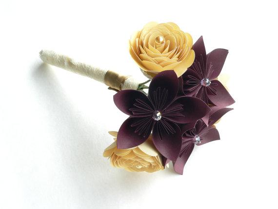 Mariage - Marsala and Gold Wedding Bouquet, Rustic Wedding Bouquet, Unique Bridal Bouquets, Florist Bouquet, Gold Bridal Flowers Bouquets