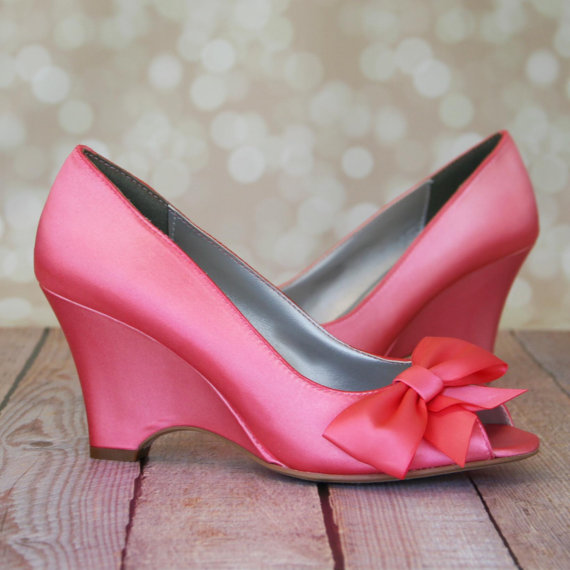 Mariage - Wedding Shoes -- Pink Coral Peep Toe Wedge Wedding Shoes with Off Center Matching Bow on the Toe