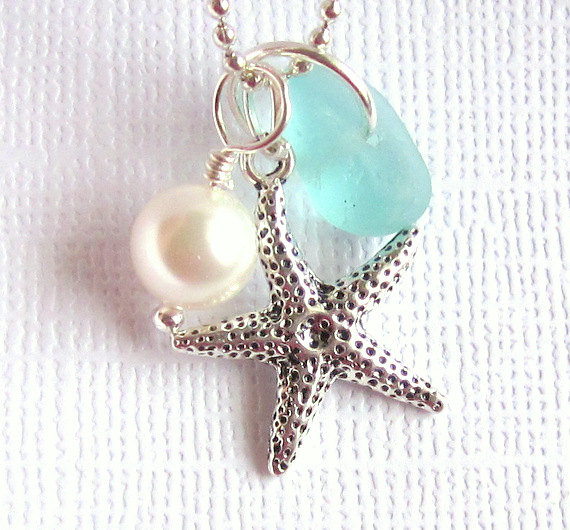 Свадьба - Sea Glass Starfish Beach Wedding Jewelry
