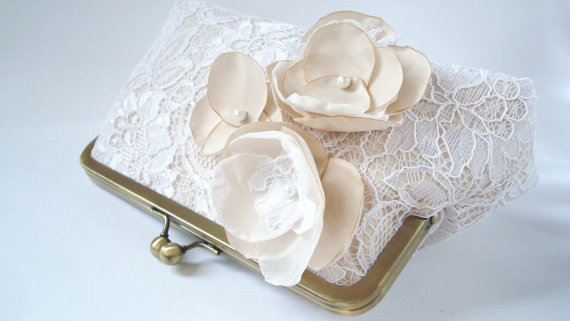 Mariage - Bridal Wedding Clutch White Lace Champagne Silk Something Blue Flowers Large Size Purse England UK Seller