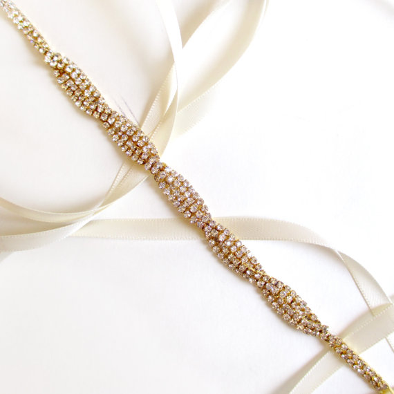 Mariage - Interlaced Rhinestone Ribbon Bridal Headband in Gold - White or Ivory Satin - Gold and Crystal