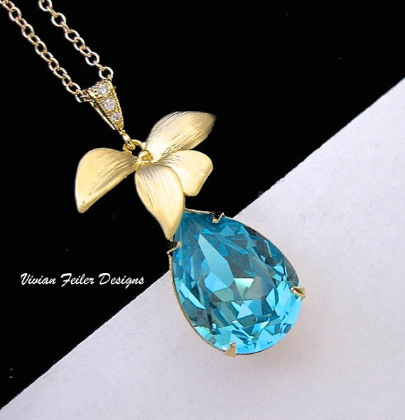 Свадьба - TEAL Blue Necklace GOLD Orchid Teal Wedding Jewelry Bridesmaid Gift Prom Bridal Party