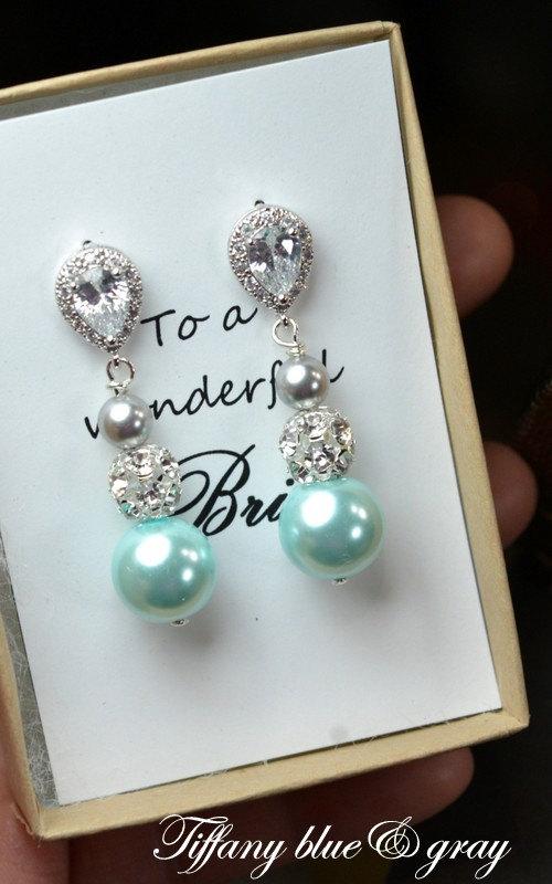 زفاف - Mint blue aqua gray -Wedding Jewelry Bridesmaid Gift Bridesmaid Jewelry Bridal Jewelry Pearl Drop Earrings Cubic Zirconia Earrings