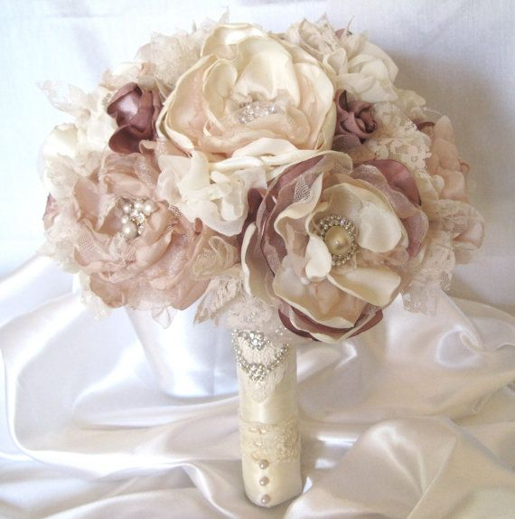Свадьба - Wedding Bouquet Fabric Flower Vintage Inspired Brooch Bouquet In Ivory Champagne And Dusty Rose With Pearls Rhinestones And Lace Custom Made