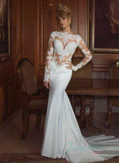 JOL268 Sexy See Through Lace Bodice Long Sleeve Mermaid Wedding Dress