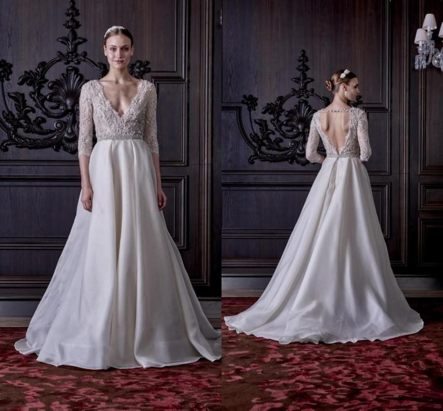 Wedding - 2016 Spring Monique Lhuillier Backless Lace Crystals Wedding Dresses A-line Deep V-neck Half Sleeves Organza Wedding Ball Bridal Gowns Online with $130.83/Piece on Hjklp88's Store