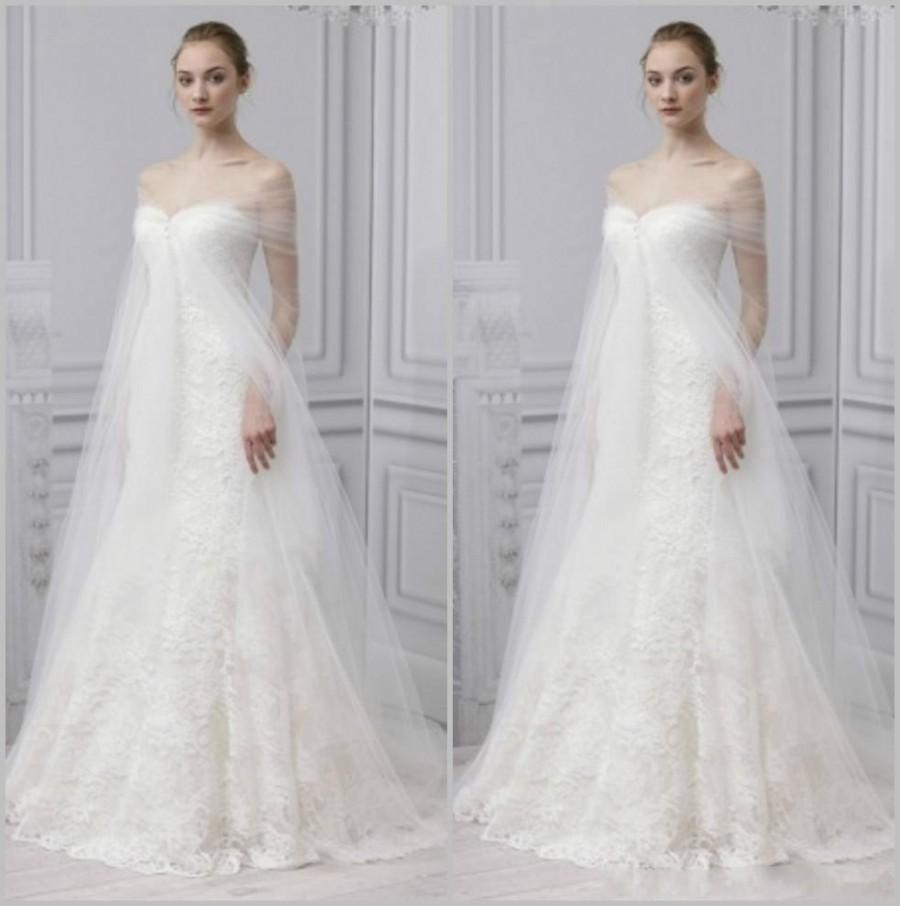 Exquisite Spring Monique Lhuillier Lace White Wedding Dresses With