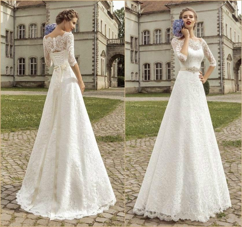 Amzing bateau half sleeve wedding dresses 2015 illusion for Vintage beaded lace wedding dress