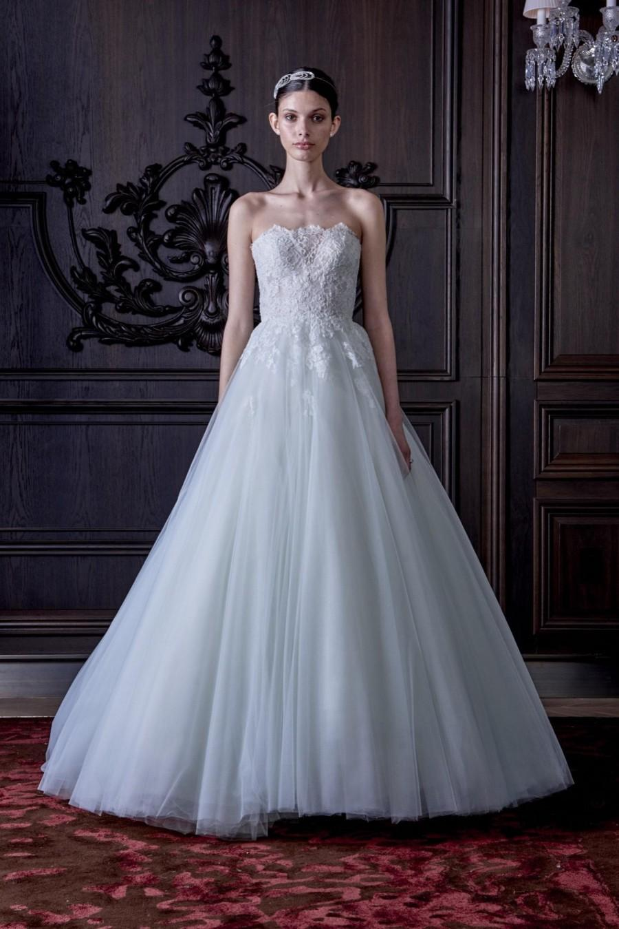 Monique Lhuillier 2016 Wedding Dresses Ball Gown Liqued Tulle Pastels Vestido De Noiva With Sweetheart Neck Bridal Gowns Custom Online